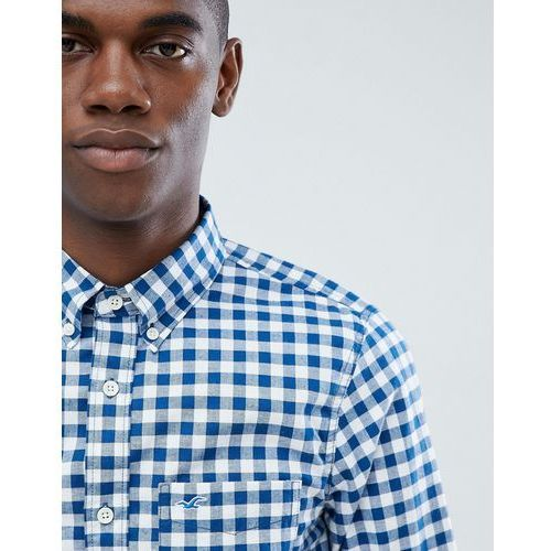 Hollister poplin gingham check shirt slim fit button down seagull logo in blue - Blue, w 4 rozmiarach