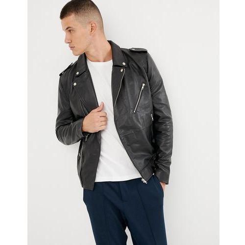 Bellfield leather biker jacket in black - Black