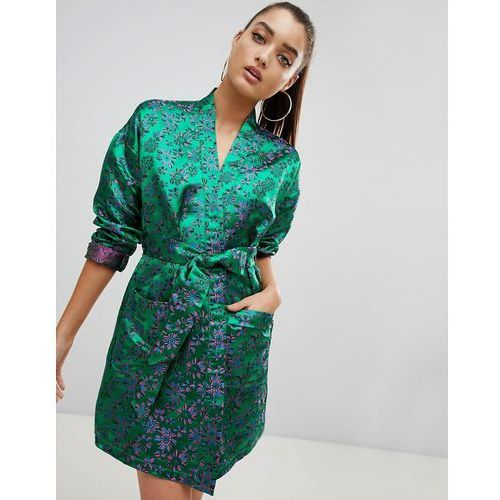 PrettyLittleThing Floral Kimono Dress - Green, kolor zielony