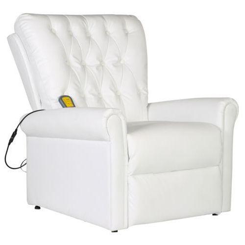 vidaXL Elektryczny fotel masujący z białej eko-skóry