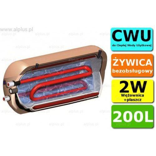 Ermet 200l dwupłaszczowy z wężownicą poziomy bojler do cwu - podgrzewacz wymiennik bezobsługowy, na 2 źródła ciepła, solarny 129cm x 61cm- wysyłka gratis
