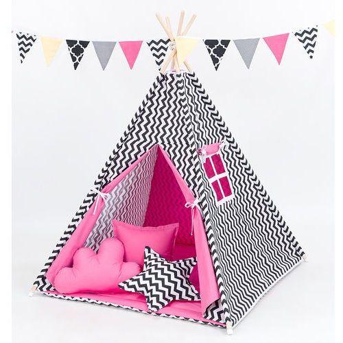 Mamo-tato namiot tipi z matą i poduszkami zygzak czarny / ciemny róż