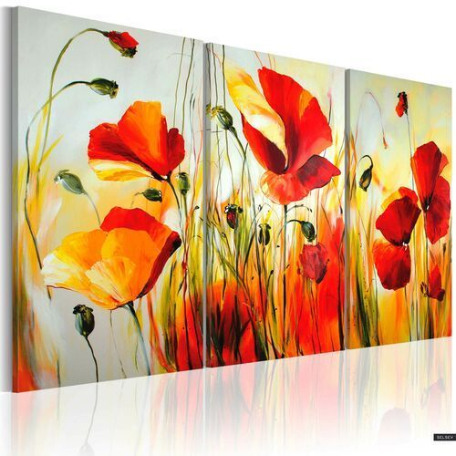 SELSEY Obraz malowany - Czerwona łąka (5903025406299)