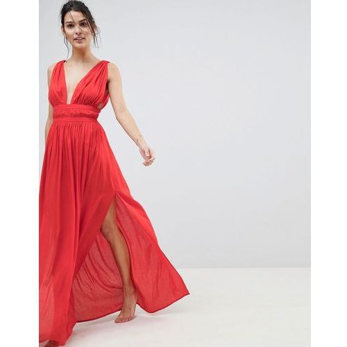 ASOS DESIGN Grecian Plunge Maxi Woven Beach Dress - Red, kolor czerwony