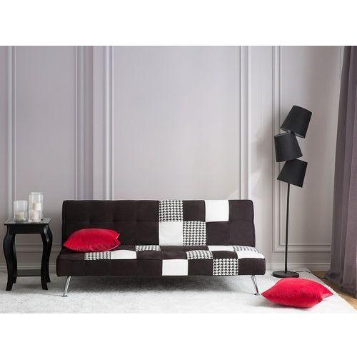 Sofa z funkcją spania tapicerowana czarna/patchwork OLSKER, kolor czarny