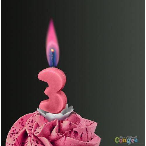 """Świeczka cyferka trójka """"3"""" z różowym płomieniem - 1 szt. marki Sens"""