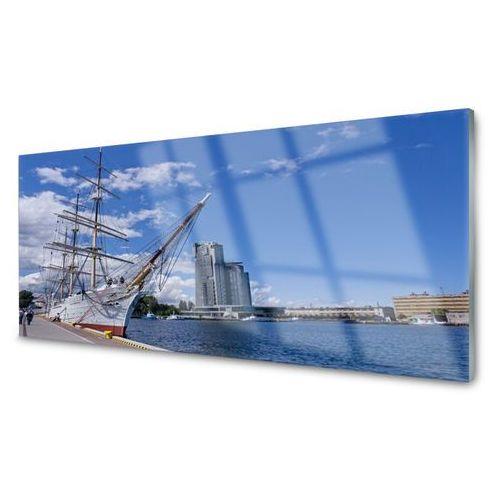 Tulup.pl Obraz akrylowy łódka morze miasto krajobraz