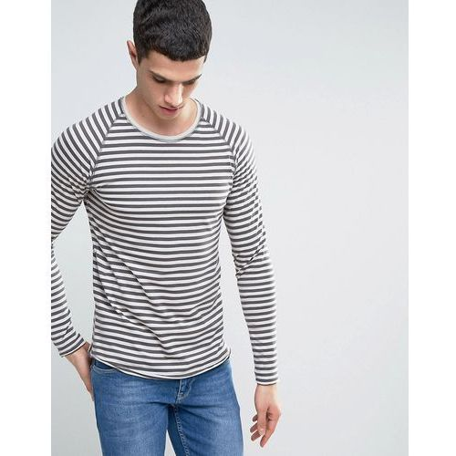 Only & Sons Long Sleeve T-Shirt With Raglan Sleeves In Stripe - Grey