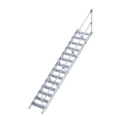 Schody przemysłowe, stopnie z aluminium, szer. stopnia 800 mm, 14 stopni. stosow marki Günzburger steigtechnik