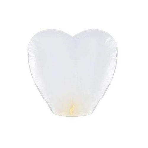 Lampion szczęścia - białe serce - 50 szt.