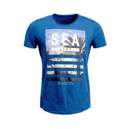 Q/S designed by Tshirt z nadrukiem light bali blue, kolor niebieski