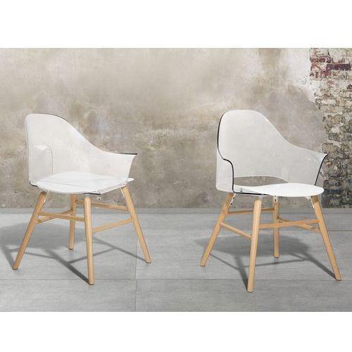 Krzesło przeźroczysto-białe - Krzesło do jadalni, do salonu - krzesło kubełkowe - BOSTON