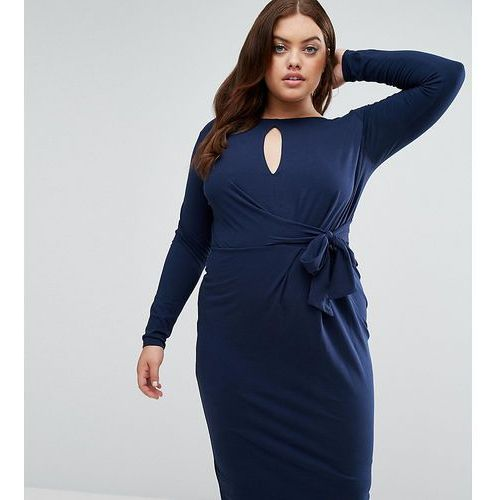 tie side long sleeve dress with plunge midi - navy marki Asos curve