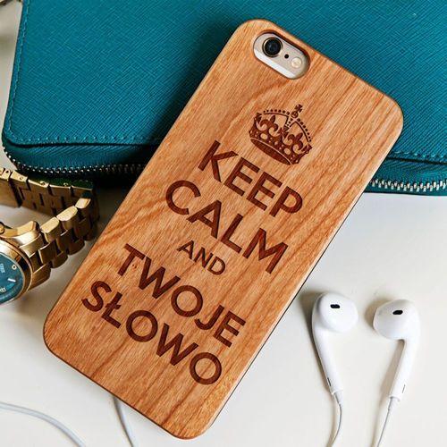 Keep Calm - Drewniana Obudowa - Wiśnia - iPhone 6+