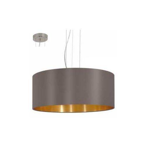 Lampa wisząca Eglo Maserlo 31608 z abażurem 3x60W E27 fi53 ciemnoszary/złoty