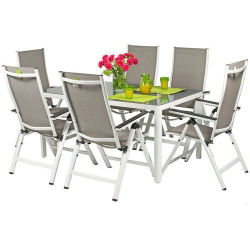 Meble ogrodowe aluminiowe VERONA VETRO Stół i 6 krzeseł - białe - hartowane szkło