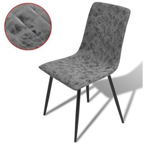 Krzesła jadalniane ze sztucznej skóry, 6 sztuk, ciemnoszare