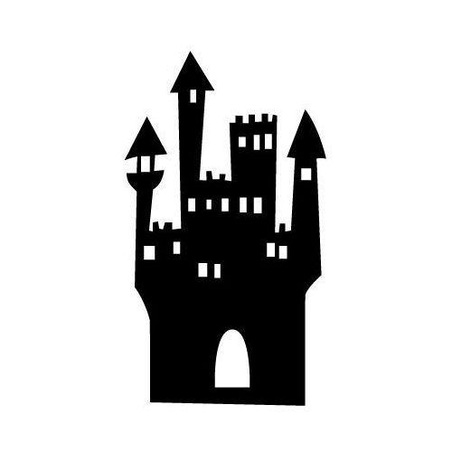 Szablon malarski z tworzywa, wielorazowy, wzór dla dzieci 59 - zamek wiedźmy marki Szabloneria
