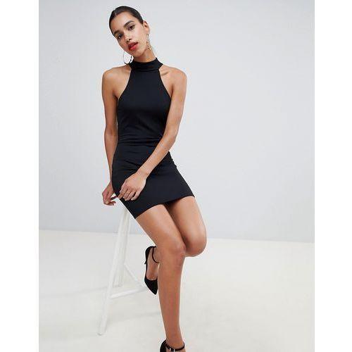 high neck sleeveless lace back dress - black marki Prettylittlething