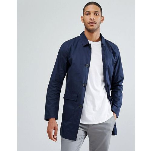 mac with patch pockets and contrast under collar - navy marki Selected homme