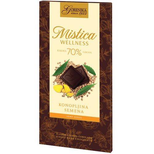 OKAZJA - MISTICA WELLNESS czekolada gorzka 70% z nasionami konopi (3838902409211)