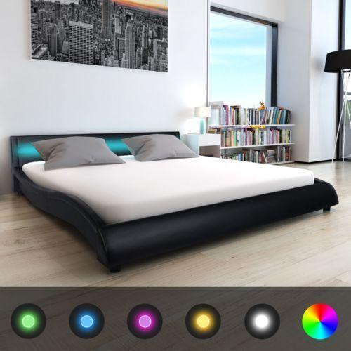 Vidaxl  łóżko ze sztucznej skóry z materacem memory foam 180x200 cm czarne pasem led (8718476000708)