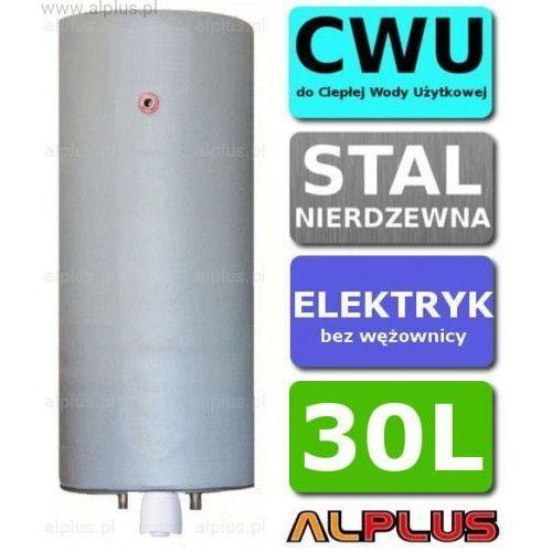 Bojler elektryczny nierdzewny pionowy wiszący 30L, z grzałką 2kW lub inną do wyboru, 30 litrów, bez wężownicy, ze stali nierdzewnej kwasoodpornej, Wysyłka gratis