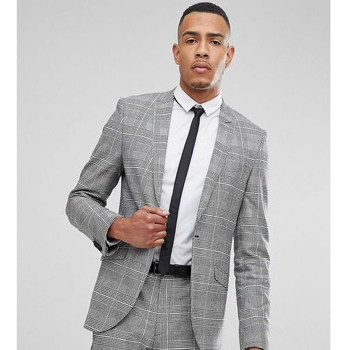 Heart & dagger tall skinny suit jacket in prince of wales check - grey