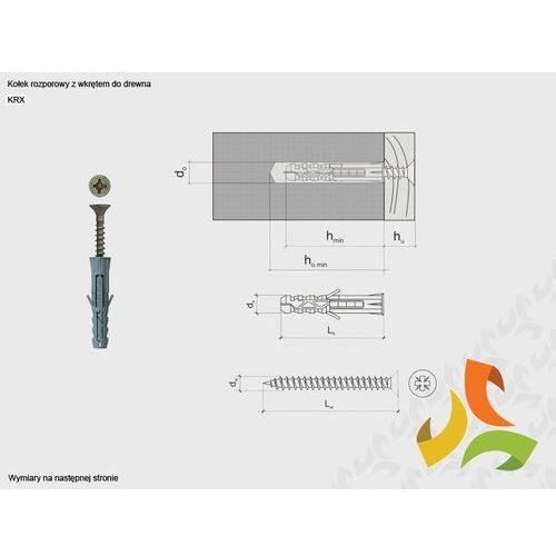 KRX 8/4,0x45 kołek rozporowy z wkrętem do drewna (200szt), KRX-084045/WKM