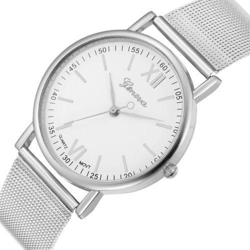 Zegarek blogerek klasyk srebrny biały - mesh silver marki Geneva
