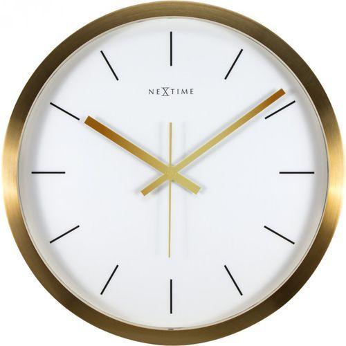 Zegar ścienny Stripe Nextime 44 cm, biały / złoty (2524 GW), kolor żółty