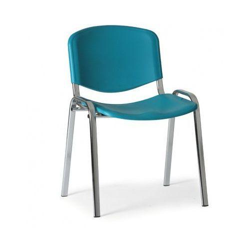 Plastikowe krzesło iso, zielony - kolor konstrucji chrom marki B2b partner