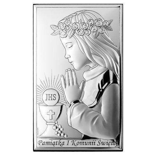 OBRAZEK SREBRNY Pamiątka I Komunii Świętej dla Dziewczynki Valenti VL804/3XL
