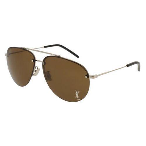 Okulary Słoneczne Saint Laurent CLASSIC 11/F M Asian Fit 006, kolor żółty