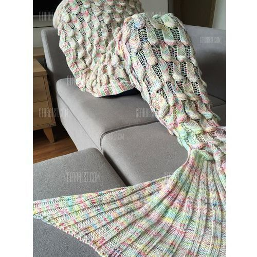 High Quality Fish Scale Shape Mermaid Tail Design Knitting Blanket For Adult