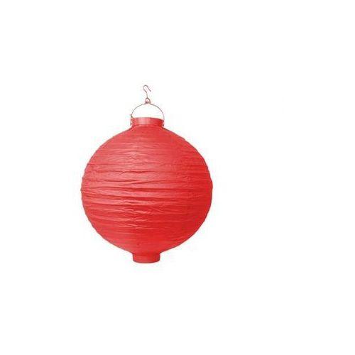 Świecący ogrodowy lampion papierowy 20 cm, czerwony, 1 szt. marki Party deco