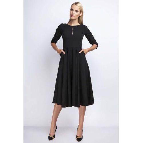 Czarna Rozkloszowana Sukienka za Kolano z Kontrastowym Zamkiem, rozkloszowana