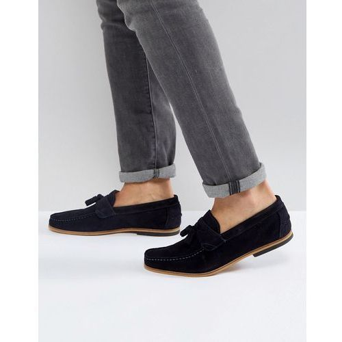 suede loafer with tassel in navy - navy, River island