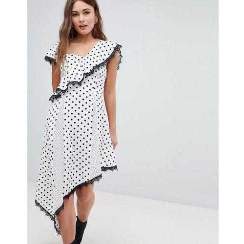 polka dot asymmetric dress - white, Boohoo