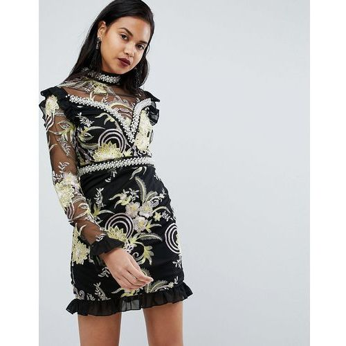 PrettyLittleThing Premium Floral High Neck Embellished Mini Dress - Black, kolor czarny