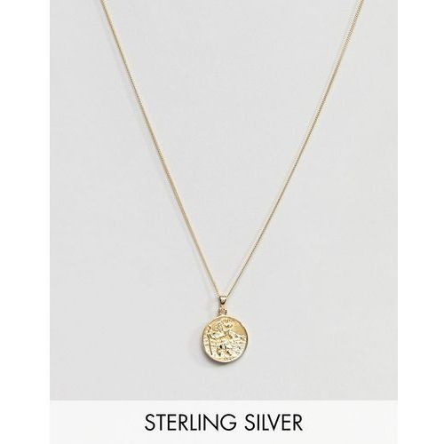 sterling silver st christopher necklace with gold plating - gold marki Asos design