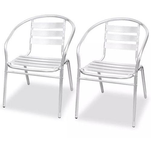 Krzesła składane w stos, 2 szt., aluminium