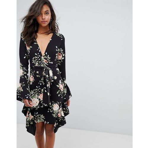PrettyLittleThing Floral Frill Detail Wrap Dress - Black, kolor czarny