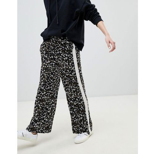 floral stripe wide leg trouser - black, New look