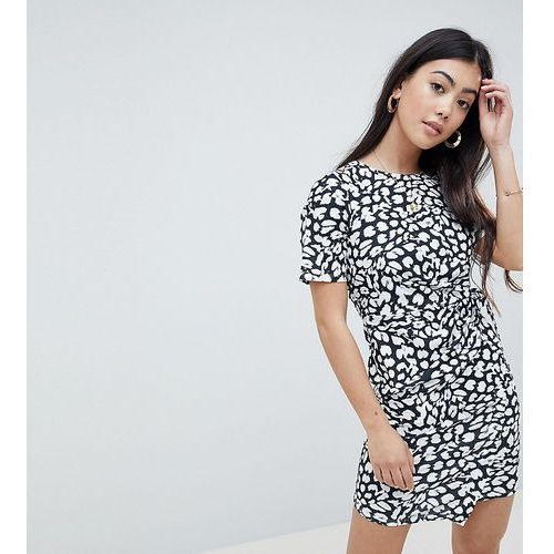 ASOS DESIGN Petite mini dress with wrap skirt in animal print - Multi