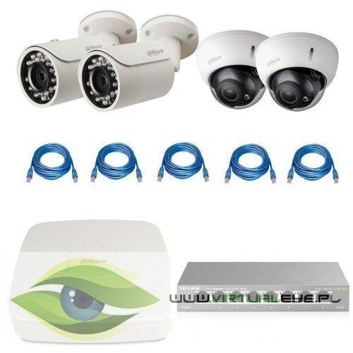 "Zestaw do Monitoringu ""Dahua 1.3MP"". 2 x Kamera IPC-HFW1120S-0360B, 2 x Kamera IPC-HDBW2100R-Z, Rejestrator DAHUA NVR2104-S2, skrętka, Switch TP-LINK TL-SG108E"