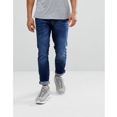 River Island Slim Fit Jeans In Mid Wash Blue - Blue, jeansy