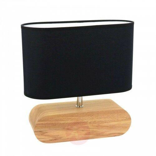 Spot-light Lampa stołowa marinna dębowa podstawa klosz czarny