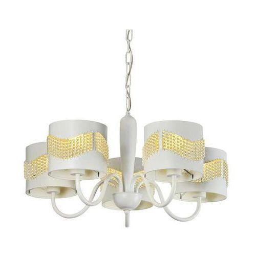 Candellux Żyrandol lampa wisząca antonio 35-23001 metalowa oprawa klasyczna zwis koraliki biały (5906714823001)
