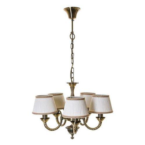 Italux Żyrandol lampa wisząca frati md71028/5 klasyczna oprawa abażurowa biała złota